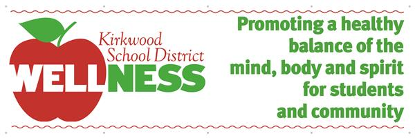 Kirkwood School District's Wellness Logo of a red apple with Wellness written through it
